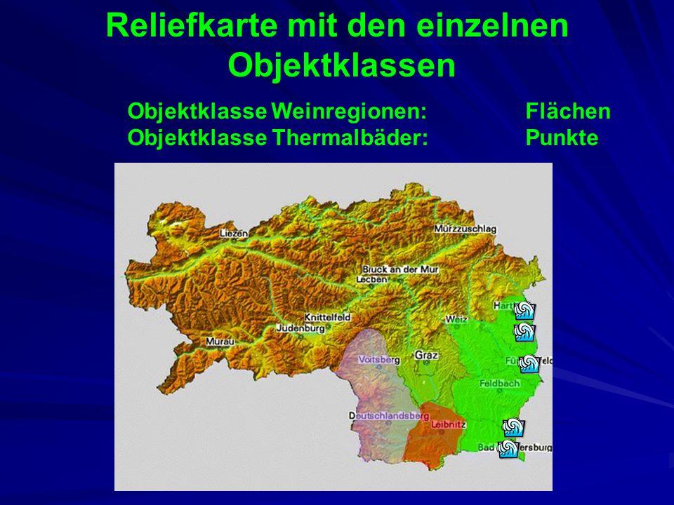 Reliefkarte mit den einzelnen