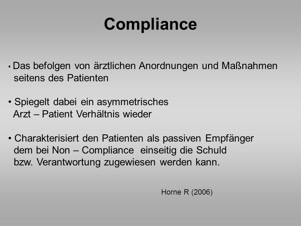 Compliance seitens des Patienten Spiegelt dabei ein asymmetrisches