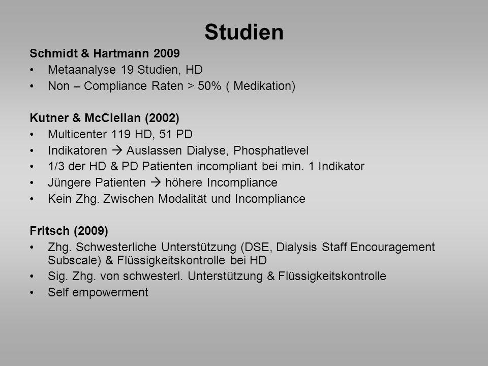 Studien Schmidt & Hartmann 2009 Metaanalyse 19 Studien, HD