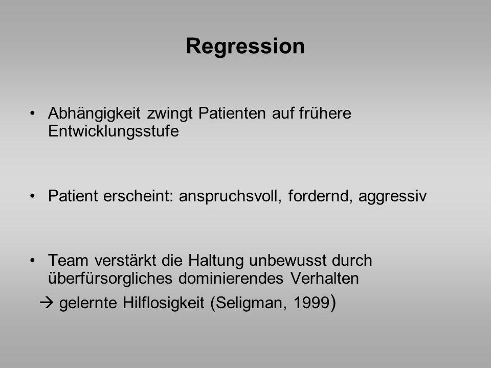Regression Abhängigkeit zwingt Patienten auf frühere Entwicklungsstufe