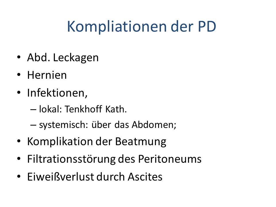 Kompliationen der PD Abd. Leckagen Hernien Infektionen,