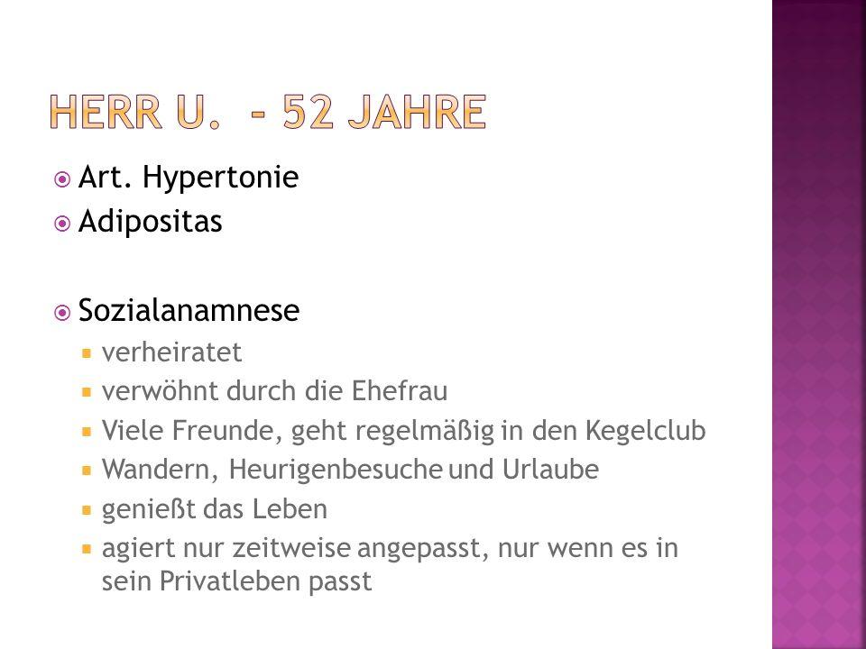 Herr U. - 52 Jahre Art. Hypertonie Adipositas Sozialanamnese