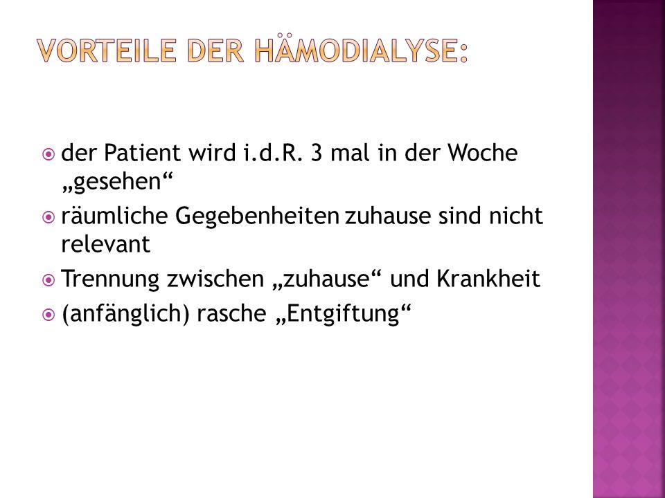 Vorteile der Hämodialyse: