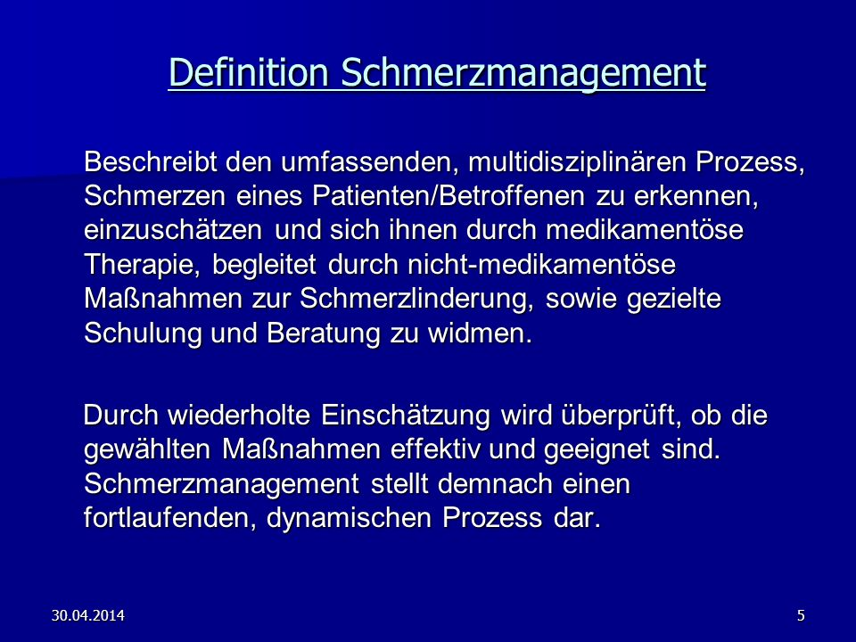 Definition Schmerzmanagement