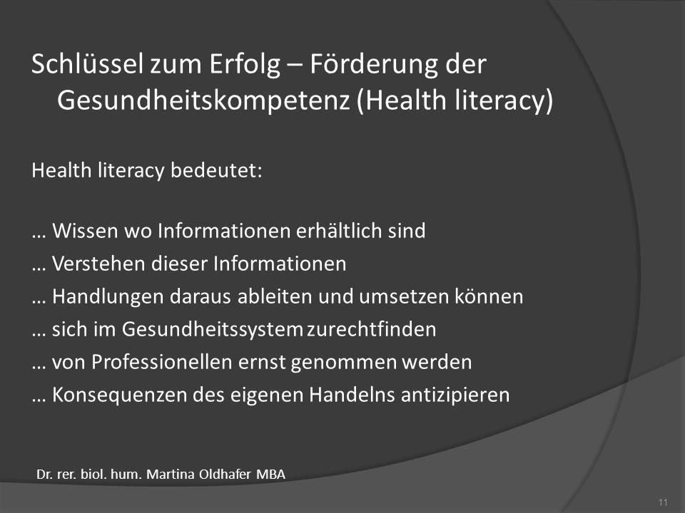 Schlüssel zum Erfolg – Förderung der Gesundheitskompetenz (Health literacy)