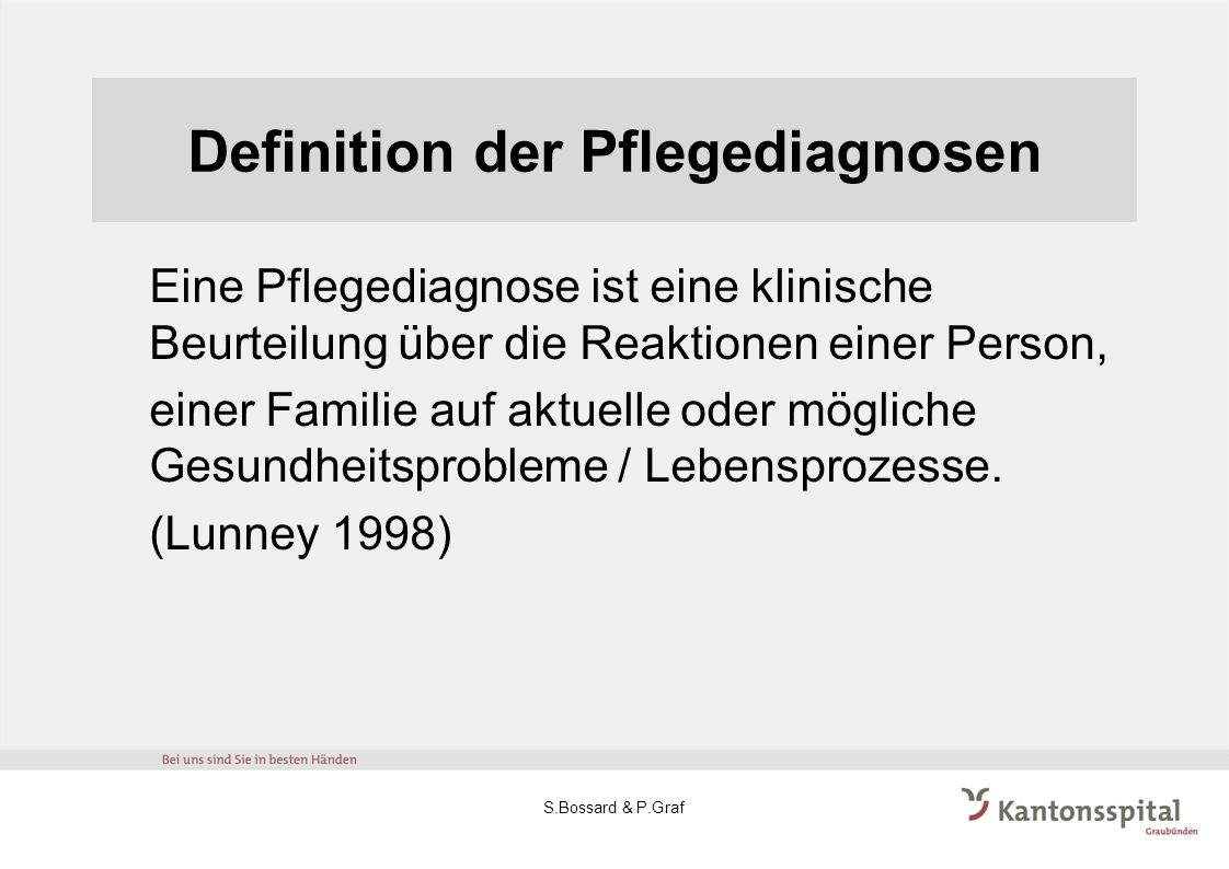 Definition der Pflegediagnosen