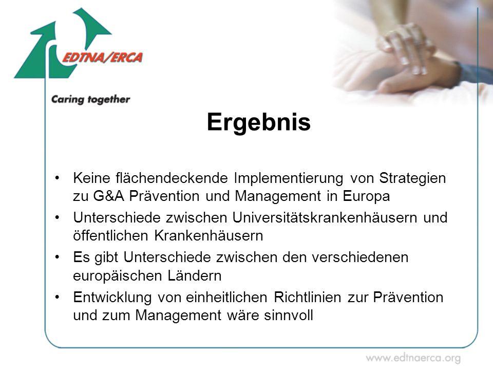 Ergebnis Keine flächendeckende Implementierung von Strategien zu G&A Prävention und Management in Europa.