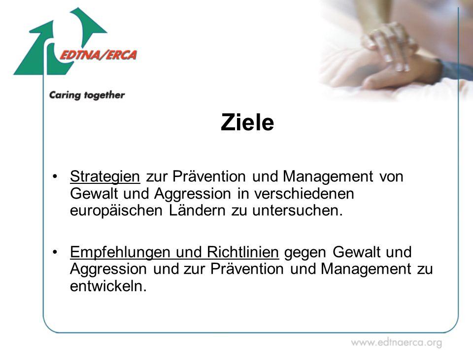 Ziele Strategien zur Prävention und Management von Gewalt und Aggression in verschiedenen europäischen Ländern zu untersuchen.