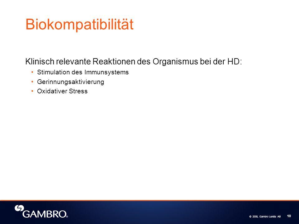 Biokompatibilität Klinisch relevante Reaktionen des Organismus bei der HD: Stimulation des Immunsystems.