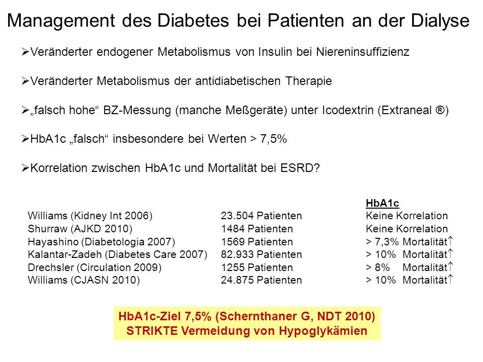 Management des Diabetes bei Patienten an der Dialyse