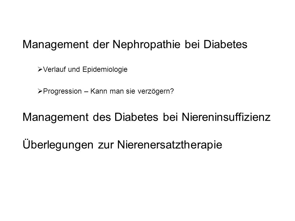 Management der Nephropathie bei Diabetes