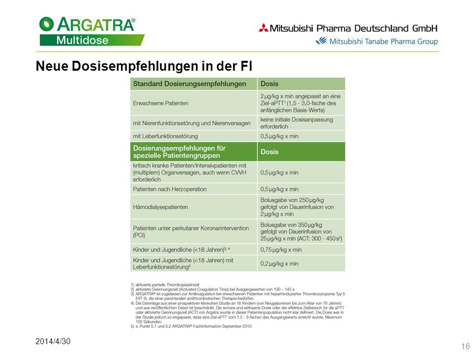 Neue Dosisempfehlungen in der FI