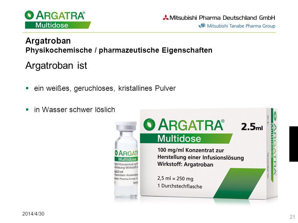 Argatroban Physikochemische / pharmazeutische Eigenschaften
