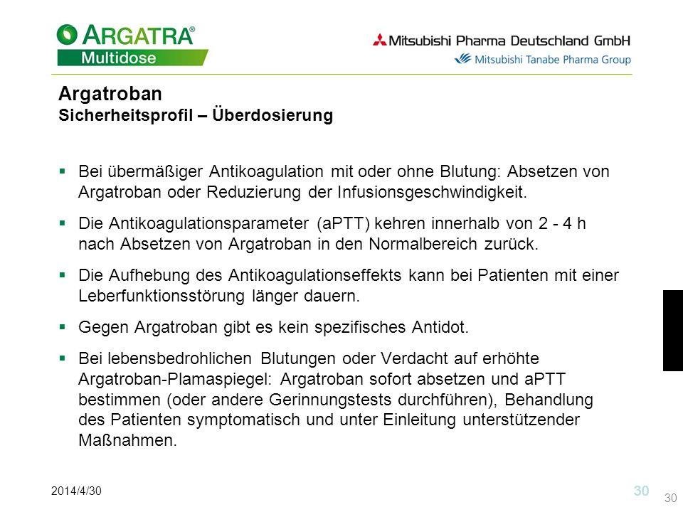 Argatroban Sicherheitsprofil – Überdosierung