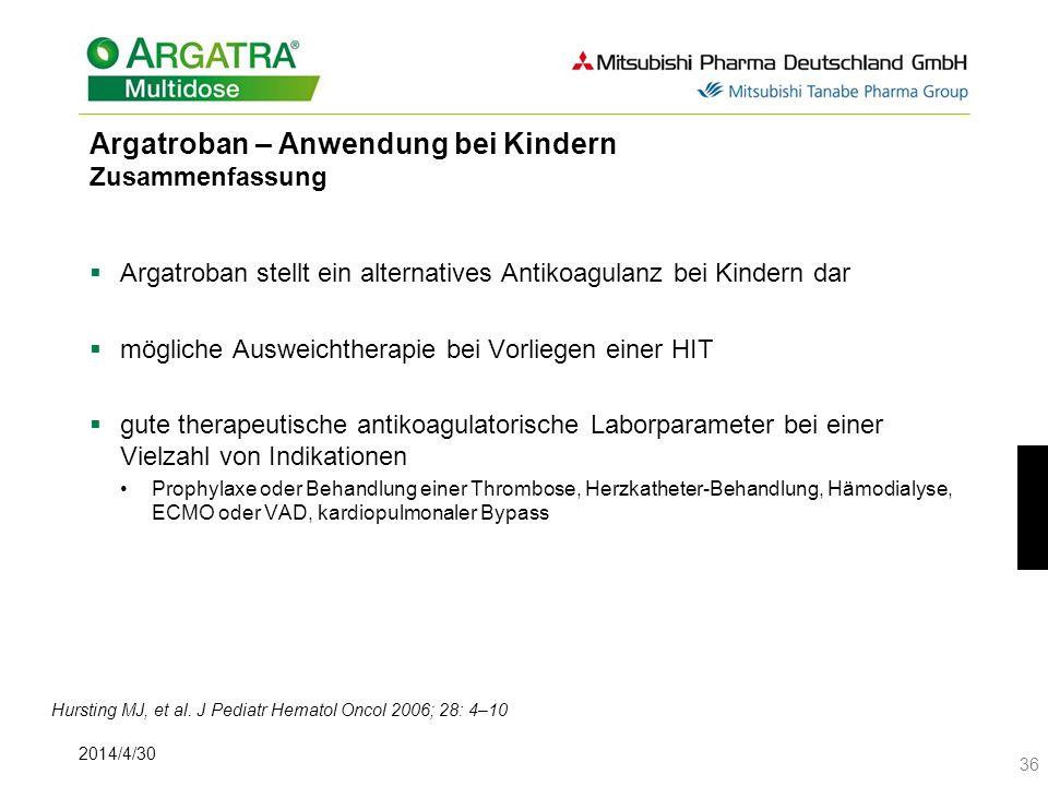 Argatroban – Anwendung bei Kindern Zusammenfassung