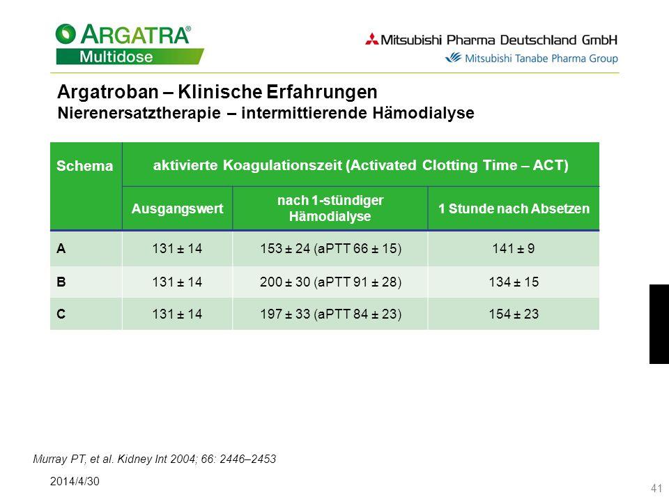 Argatroban – Klinische Erfahrungen Nierenersatztherapie – intermittierende Hämodialyse