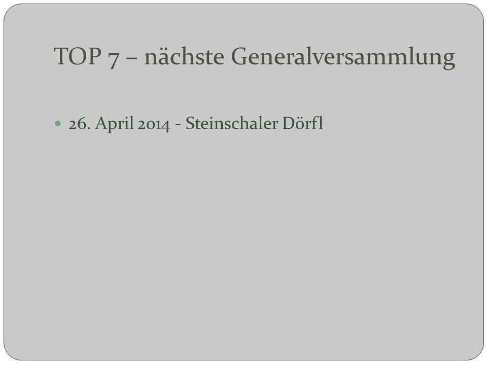 TOP 7 – nächste Generalversammlung