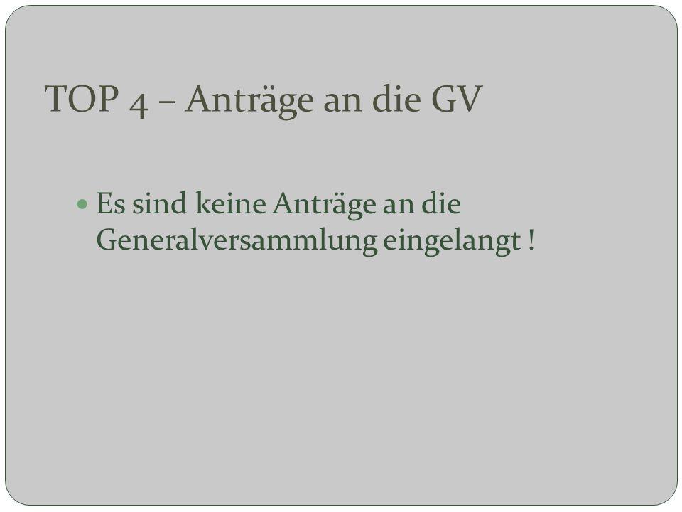TOP 4 – Anträge an die GV Es sind keine Anträge an die Generalversammlung eingelangt !
