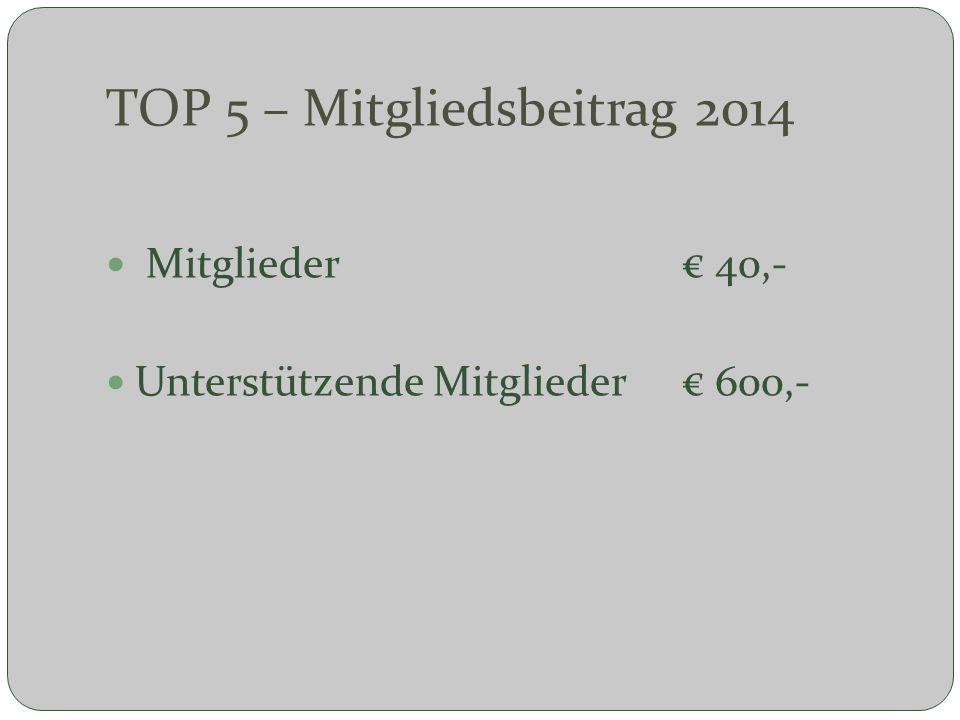 TOP 5 – Mitgliedsbeitrag 2014