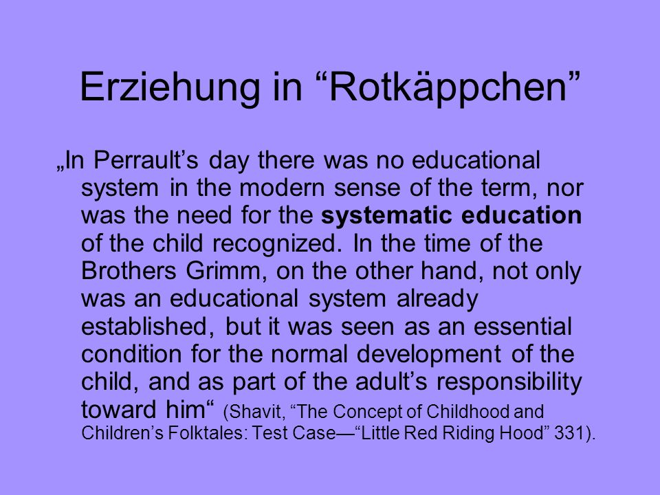 Erziehung in Rotkäppchen