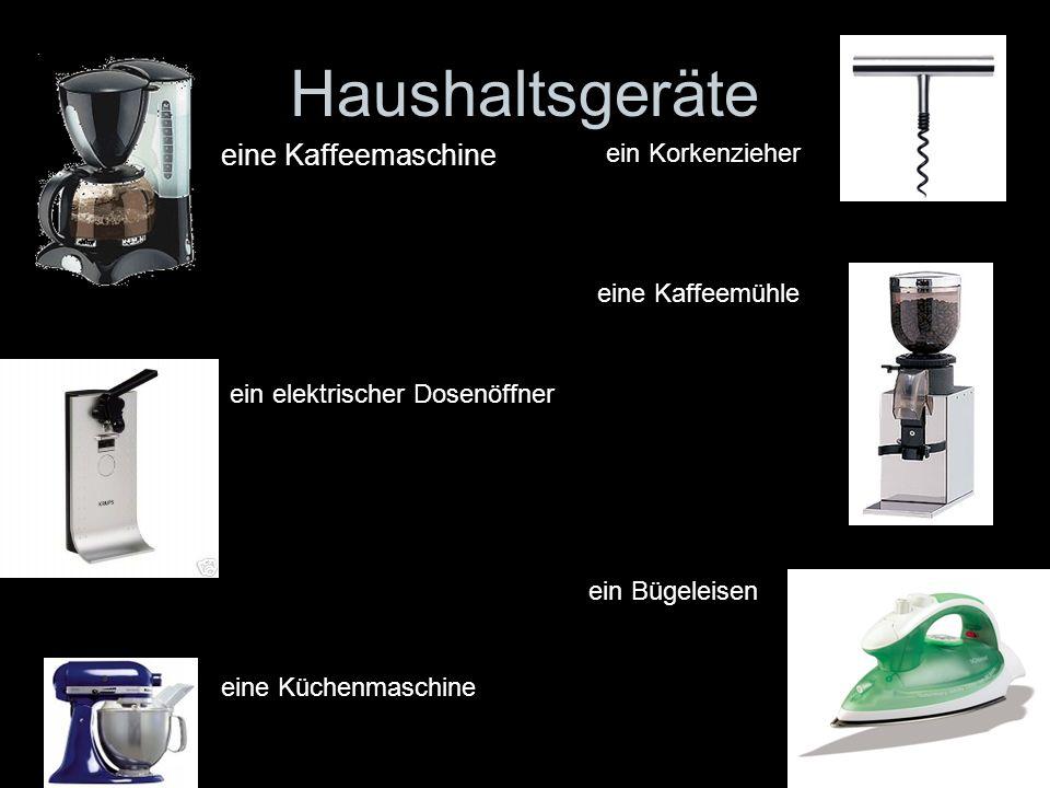 Haushaltsgeräte eine Kaffeemaschine ein Korkenzieher eine Kaffeemühle