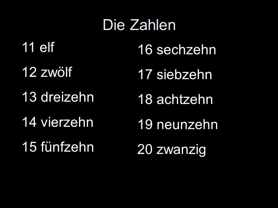 Die Zahlen 11 elf 16 sechzehn 12 zwölf 17 siebzehn 13 dreizehn