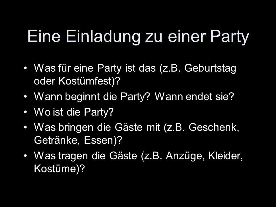 Eine Einladung zu einer Party