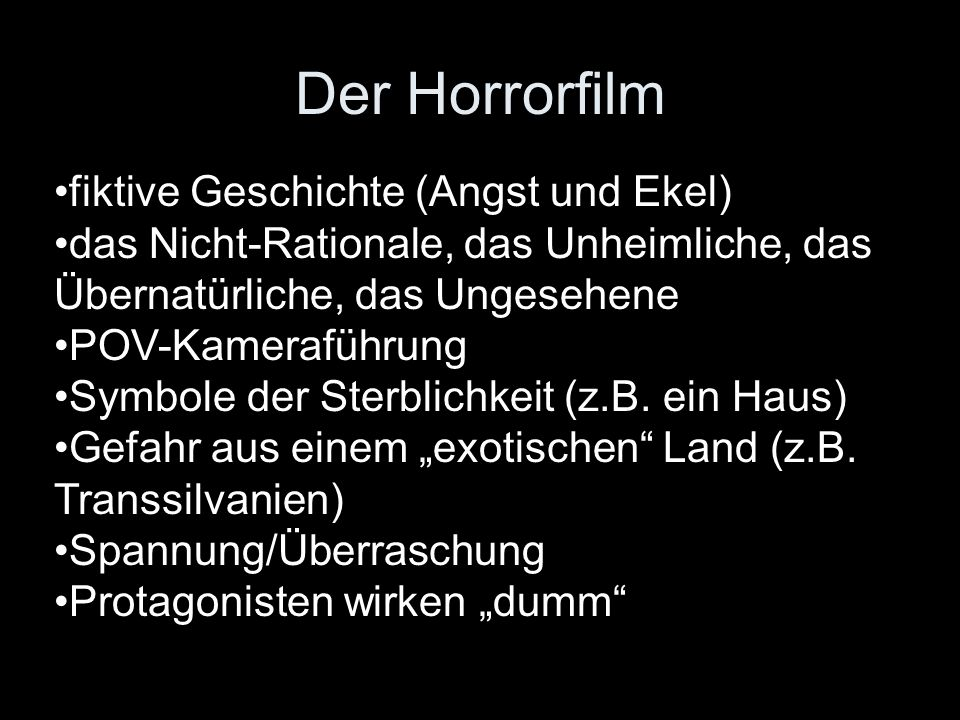 Der Horrorfilm fiktive Geschichte (Angst und Ekel)
