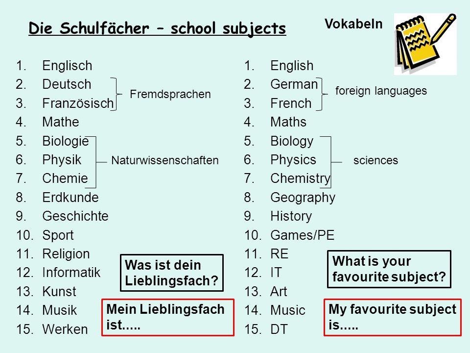 Die Schulfächer – school subjects