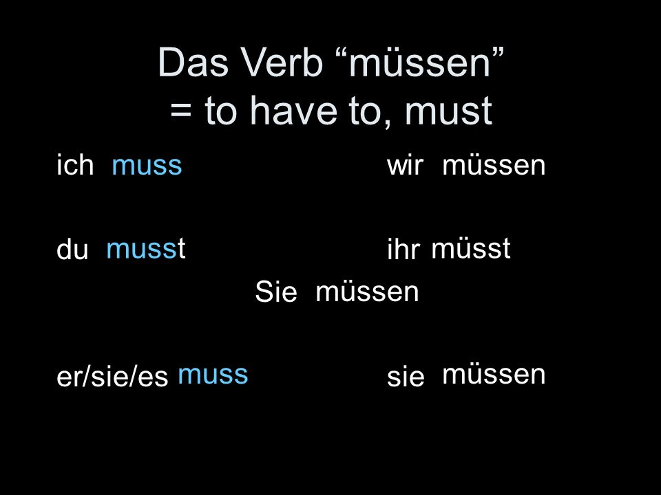 Das Verb müssen = to have to, must