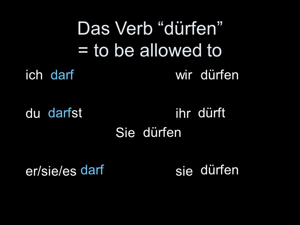 Das Verb dürfen = to be allowed to