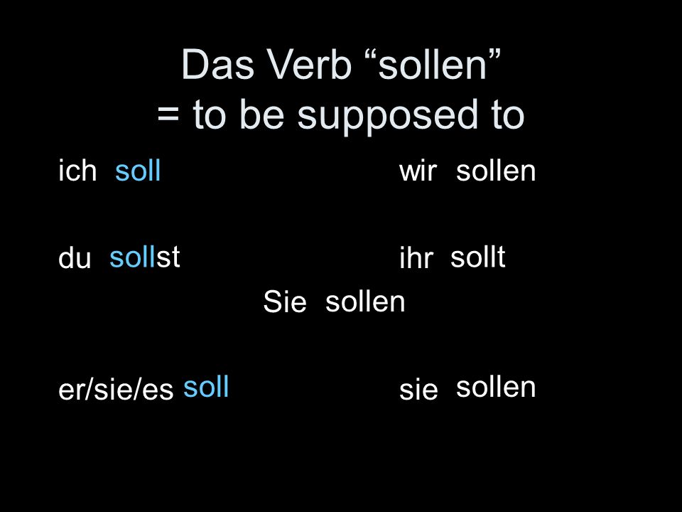 Das Verb sollen = to be supposed to