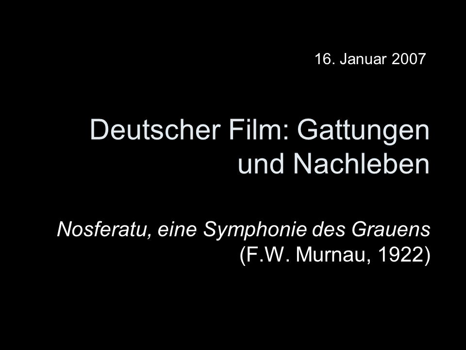 Deutscher Film: Gattungen und Nachleben