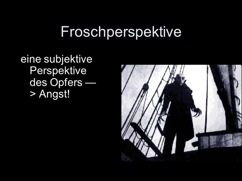 Froschperspektive eine subjektive Perspektive des Opfers —> Angst!