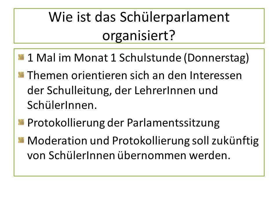 Wie ist das Schülerparlament organisiert