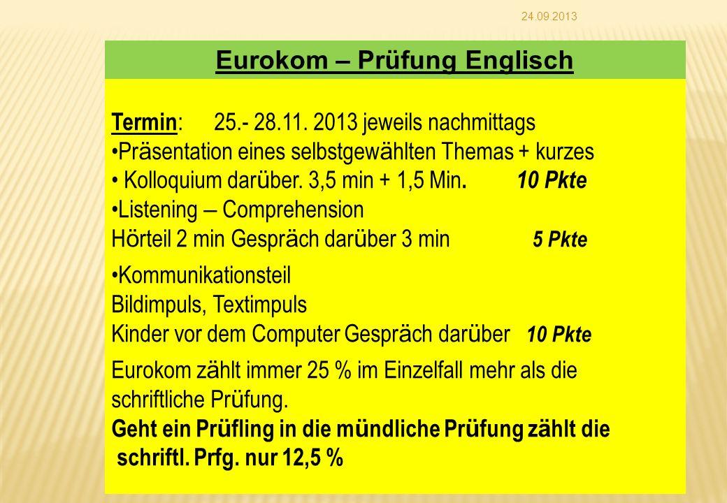 Eurokom – Prüfung Englisch