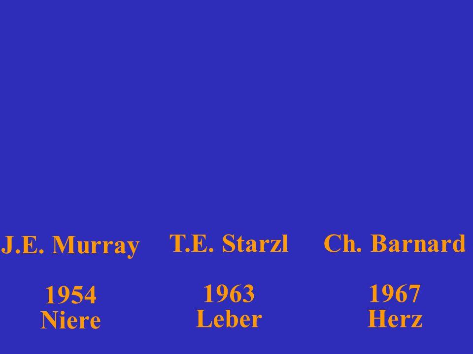 Ch. Barnard 1967 Herz J.E. Murray 1954 Niere T.E. Starzl 1963 Leber