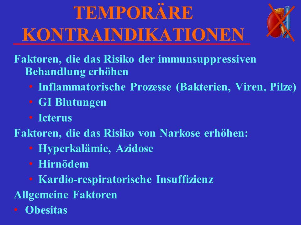 TEMPORÄRE KONTRAINDIKATIONEN