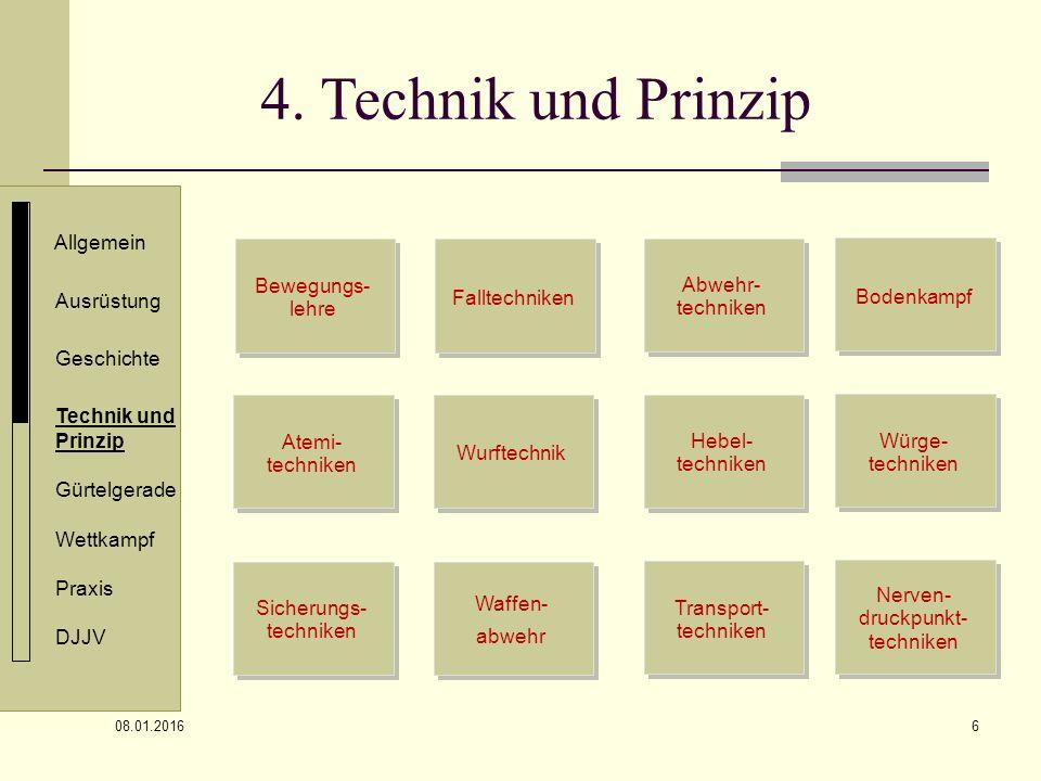 4. Technik und Prinzip Allgemein Bewegungs- lehre Abwehr- techniken