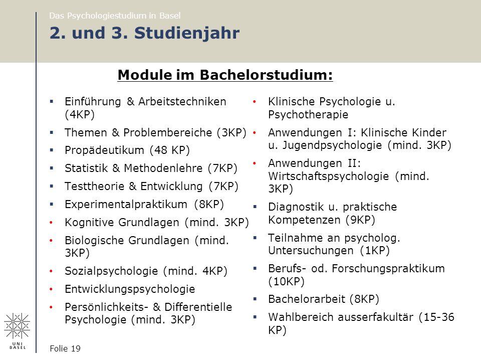 2. und 3. Studienjahr Module im Bachelorstudium: