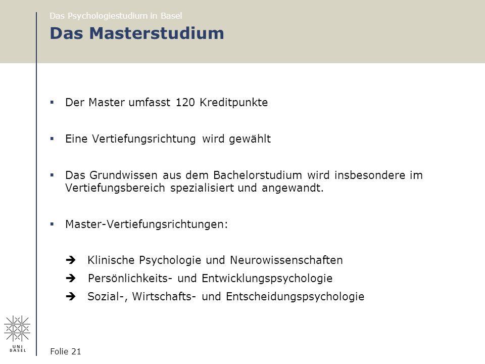 Das Masterstudium Der Master umfasst 120 Kreditpunkte