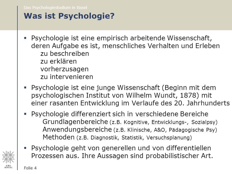 Das Psychologiestudium in Basel