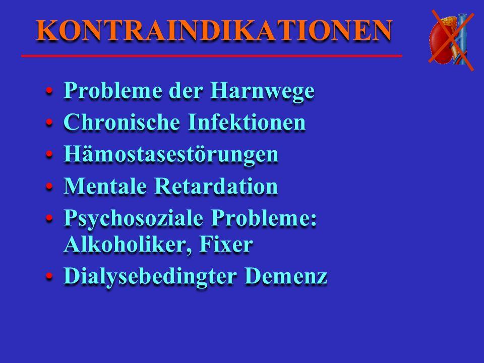 KONTRAINDIKATIONEN Probleme der Harnwege Chronische Infektionen