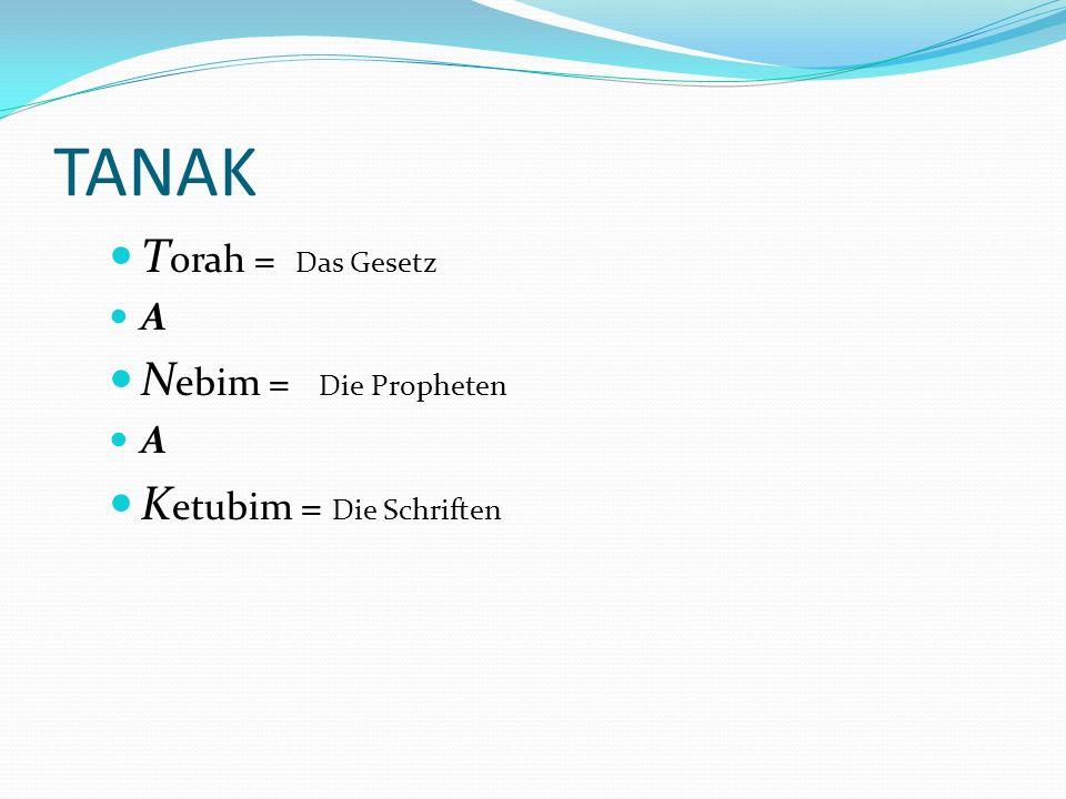 TANAK Torah = Das Gesetz Nebim = Die Propheten Ketubim = Die Schriften