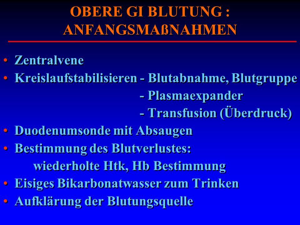OBERE GI BLUTUNG : ANFANGSMAßNAHMEN