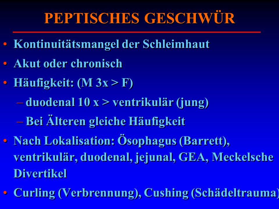 PEPTISCHES GESCHWÜR Kontinuitätsmangel der Schleimhaut