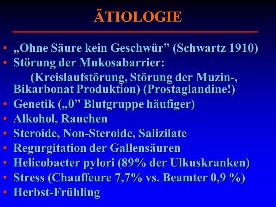 """ÄTIOLOGIE """"Ohne Säure kein Geschwür (Schwartz 1910)"""