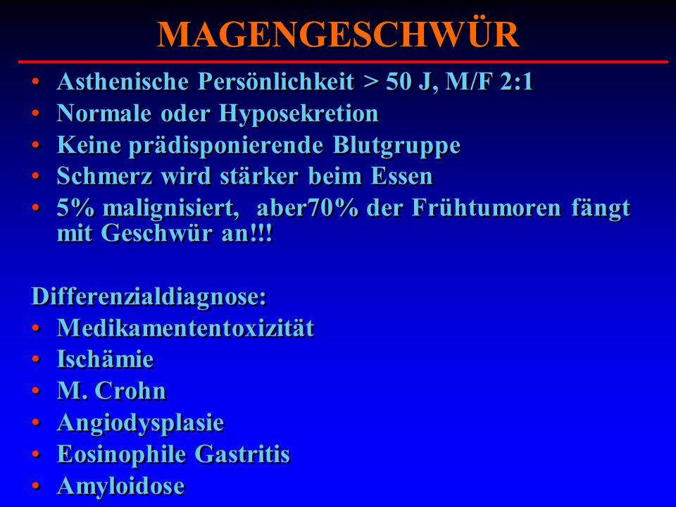 MAGENGESCHWÜR Asthenische Persönlichkeit > 50 J, M/F 2:1