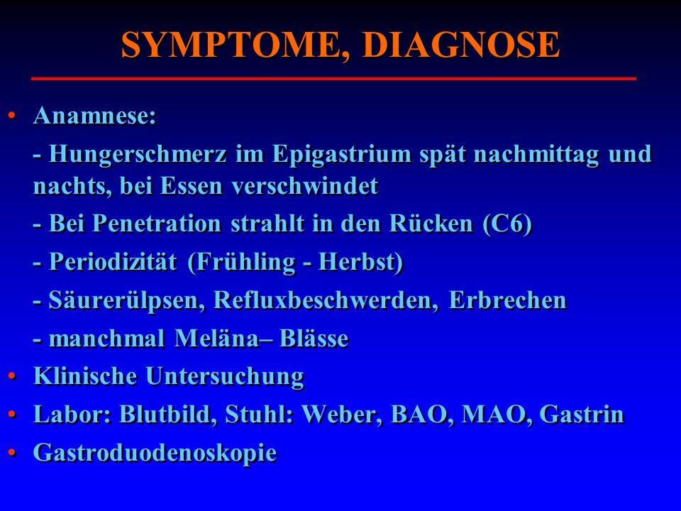 SYMPTOME, DIAGNOSE Anamnese: