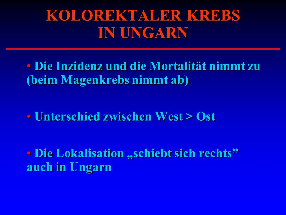 KOLOREKTALER KREBS IN UNGARN